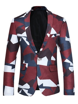 Ericdress Lapel Print Fit Men's Blazer