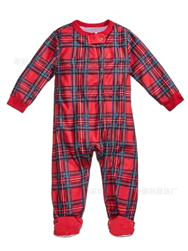 Ericdress Christmas Plaid Long Sleeve Zipper Unisex Baby's Jumpsuits