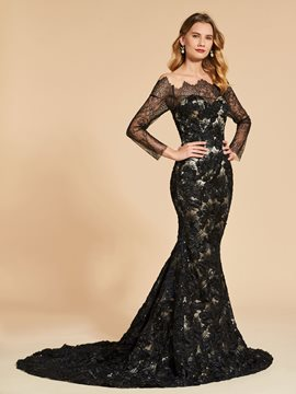 Ericdress Long Sleeve Off The Shoulder Lace Mermaid Evening Dress