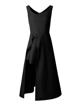 Ericdress Asymmetrical Mid-Calf Zipper Little Black Dress