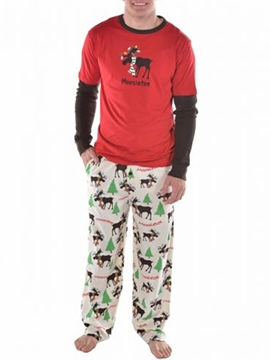 Ericdress Round Neck Print Long Pant Men's Pajamas Set