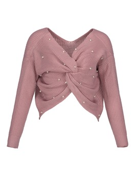 Ericdress Beading Decorative Pleated Plain Women's Sweater