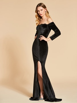 Ericdress Off The Shoulder Long Sleeve Velvet Mermaid Evening Dress