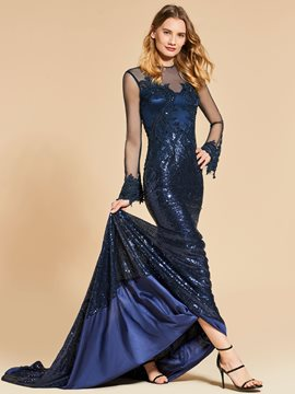Ericdress Long Sleeve Sequin Mermaid Evening Dress With Beadings