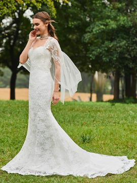 Ericdress High Neck Mermaid Lace Wedding Dress