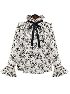 Ericdress Stand Collar Floral Flare Sleeve Blouse