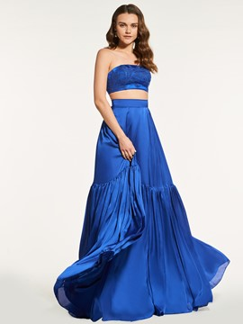 Ericdress A Line Strapless Two Pieces Crop Top Prom Dress