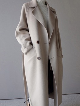 Ericdress Double-Breasted Notched Lapel Plain Coat