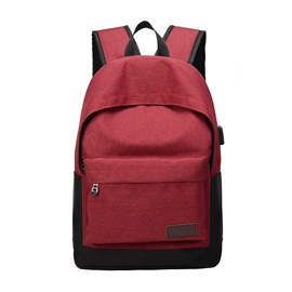 Ericdress Simple Solid Color Oxford Zipper Backpack