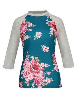 Ericdress Slim Color Block Floral Print Women's T-shirt