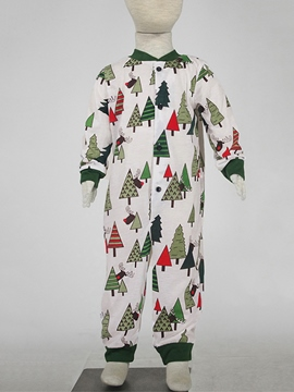 Ericdress Christmas Tree Print Single-Breasted Unisex Baby's Jumpsuits