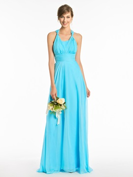 Ericdress Halter A Line Floor Length Bridesmaid Dress