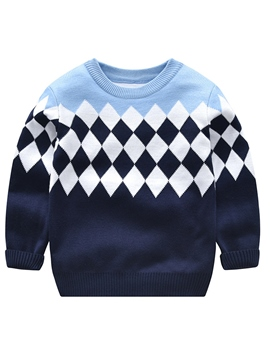 Ericress Print Round Neck Long Sleeve Boy's Sweater