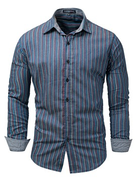Ericdress Lapel Stripe Slim Men's Shirt