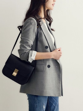 Ericdress Plain Notched Lapel Mid-Length Blazer
