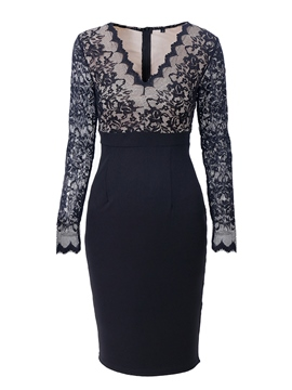 Ericdress V-Neck Lace Long Sleeve Bodycon Dress