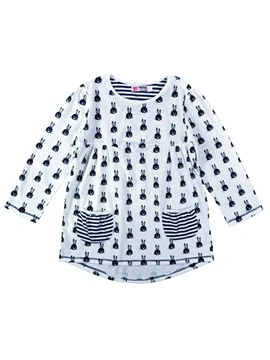 Ericdress Rabbit Print Stripe Round Neck Girl's Dress