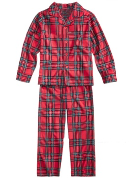 Ericdress Christmas Plaid Single-Breasted Unisex Outfit Pajamas