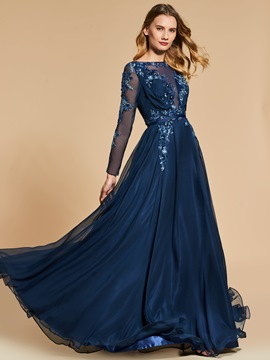 Ericdress A Line Long Sleeve Sequin Applique Long Evening Dress