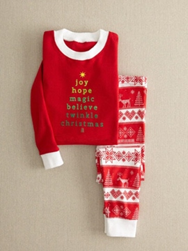 Ericdress Christmas Letter & Stripe Print Unisex Outfit Pajamas