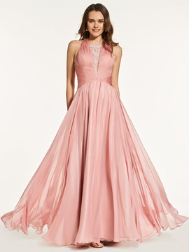 Ericdress A Line Pleats Criss-Cross Straps Back Prom Dress