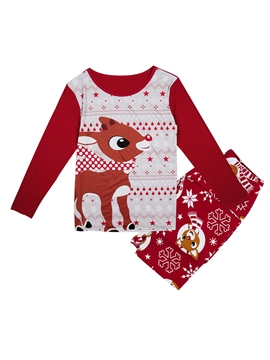 Ericdress Christmas Deer Print Color Block Unisex Outfit Pajamas