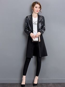 Ericdress Plain Patchwork Mid-Length Trench Coat