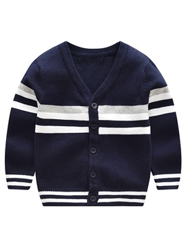 Ericress V-Neck Stripe Single-Breasted Boy's Cardigan