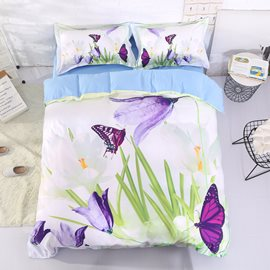 Vivilinen 3D Saffron Crocus and Butterfly Printed Cotton 4-Piece Bedding Sets/Duvet Covers