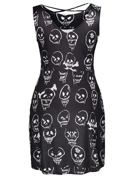 Skull Print Lace-Up Women's Bodycon Dress