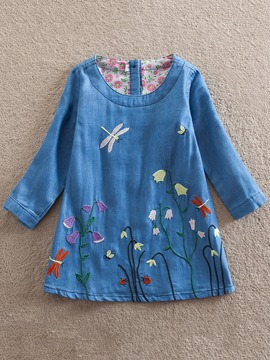 Ericress Flower Embroidery Round Neck Girl's Denim Dress