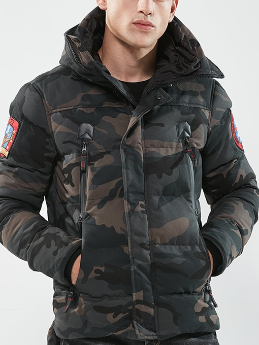 Ericdress Hooded Camouflage Thicken Men's Winter Jacket