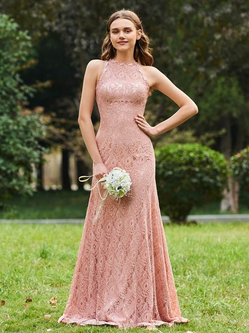 Ericdress Sheath Lace Long Bridesmaid Dress