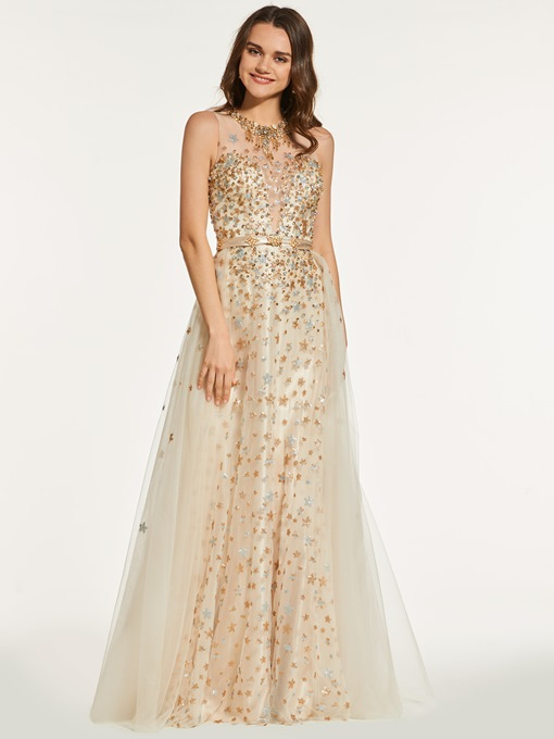 Ericdress A Line Halter Beaded Sequin Prom Dress With Button Back
