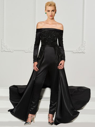 Ericdress Long Sleeve Off The Shoulder Beaded Prom Jumpsuit With Train