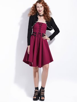 Ericdress Halloween Long Sleeves A-Line Women's False Two Pieces Dress