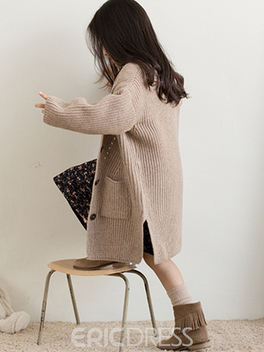 Ericdress V-Neck Single-Breasted Thick Girl's Sweater Cardigan