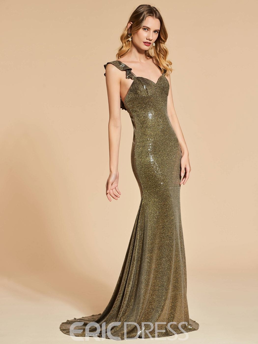 bc5f8964a029f Ericdress Straps Sequin Backless Mermaid Reflective Evening Dress(13091469)