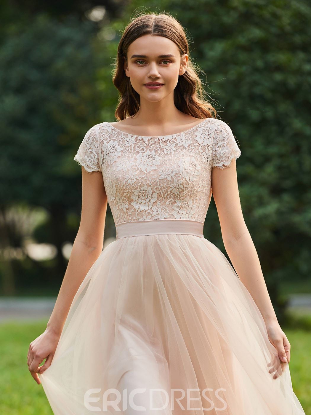 Ericdress Short Sleeves A Line Lace Bridesmaid Dress