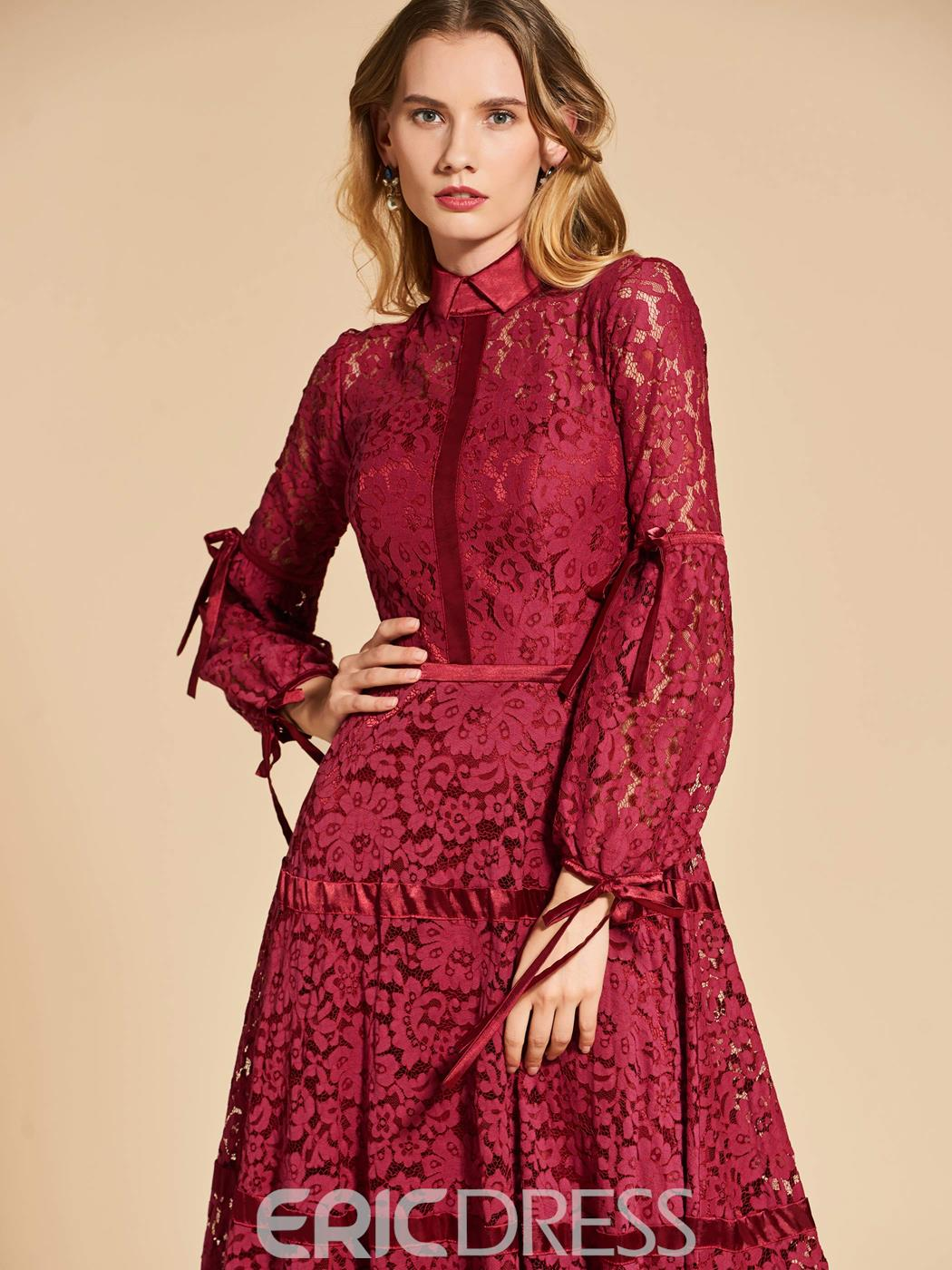 Ericdress A Line 3/4 Sleeve High Neck Vintage Lace Evening Dress