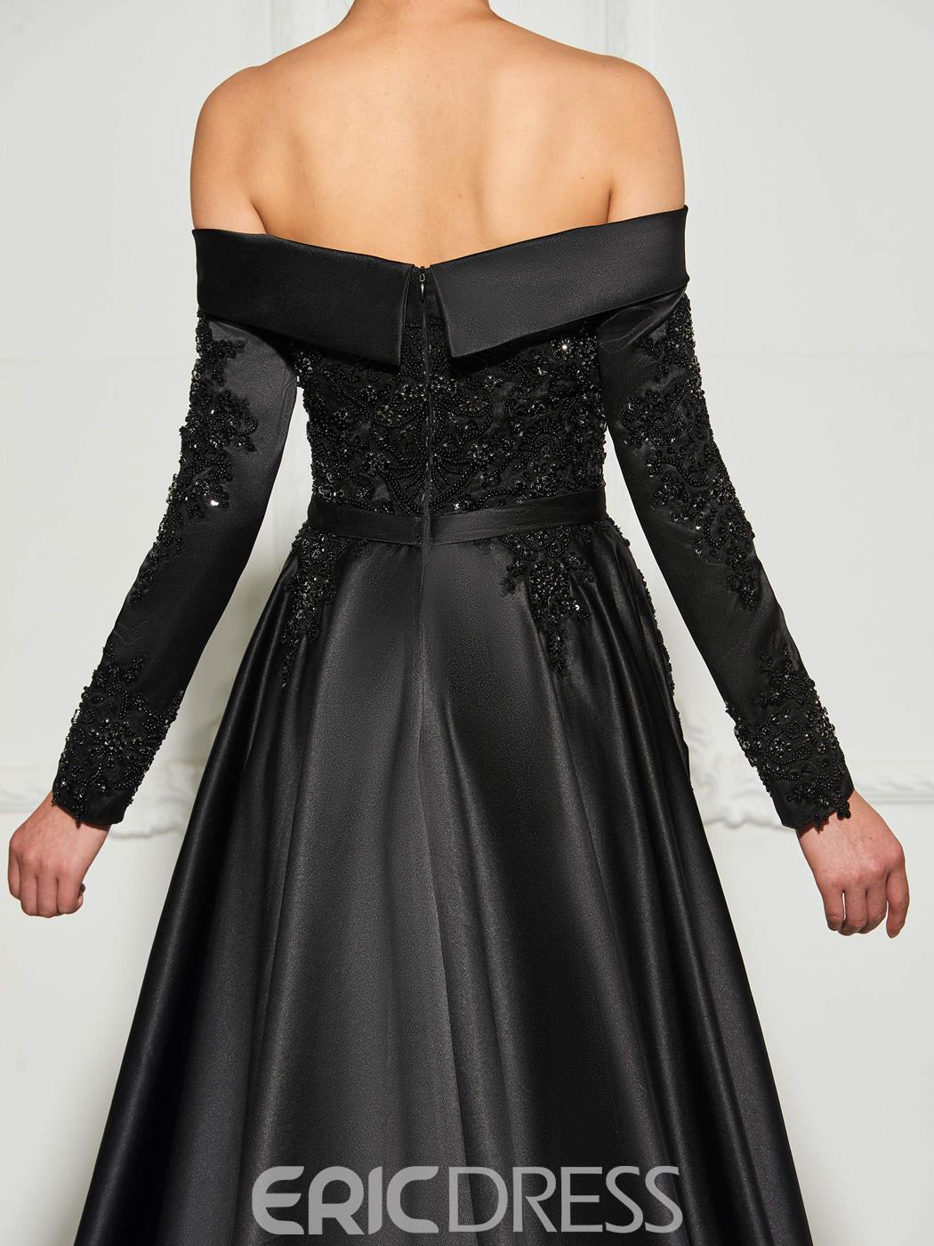 Ericdress Long Sleeve Off The Shoulder Beaded Black Prom