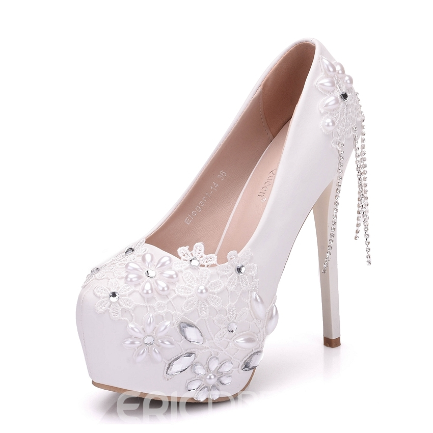 c7a643388 ... Ericdress Rhinestone Fringe Platform Stiletto Heel Wedding Shoes ...