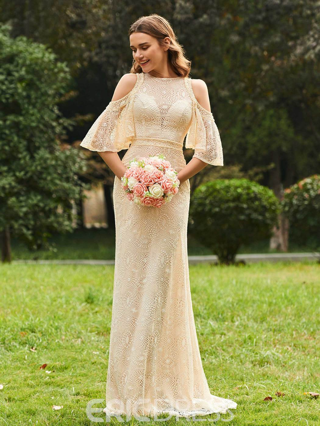 Ericdress Sheath Lace Cold Shoulder Long Bridesmaid Dress