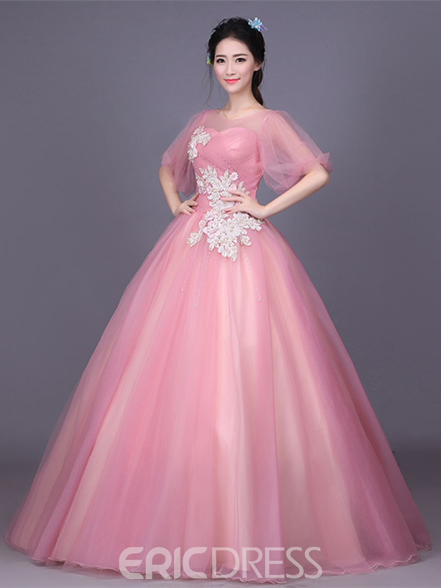 Ericdress Appliques Embroidery Flowers Pearls Ball