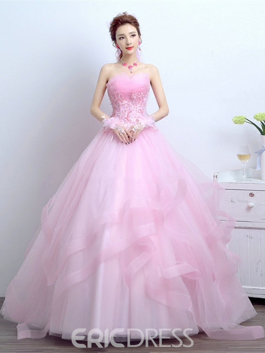 93f90defb1 Ericdress Appliques Flowers Scalloped-Edge Quinceanera Dress ...