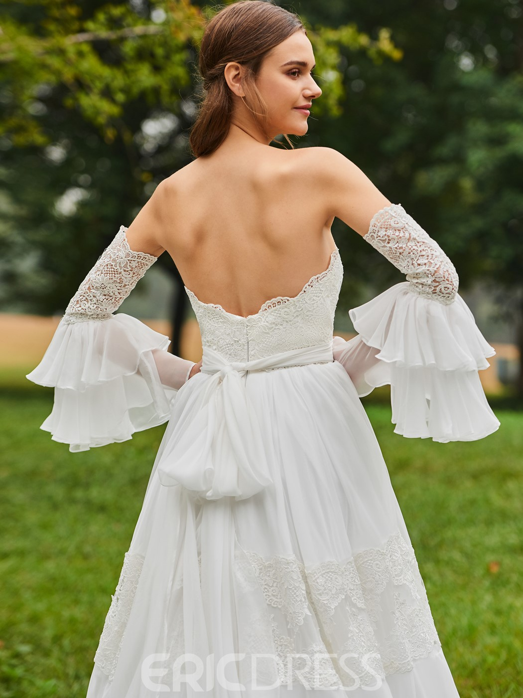 Ericdress Strapless Lace Wedding Dress with Sleeves