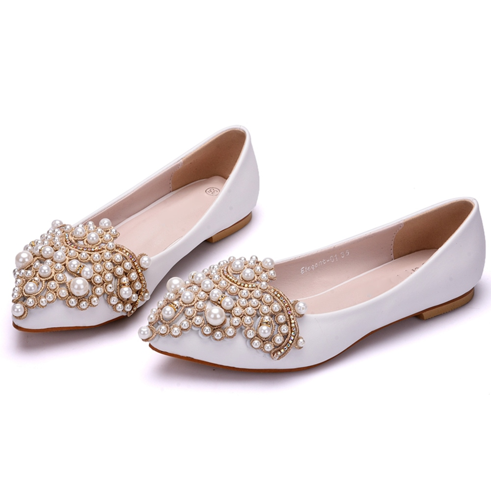 Ericdress Rhinestone&Beads Plain Low-Cut Wedding Shoes