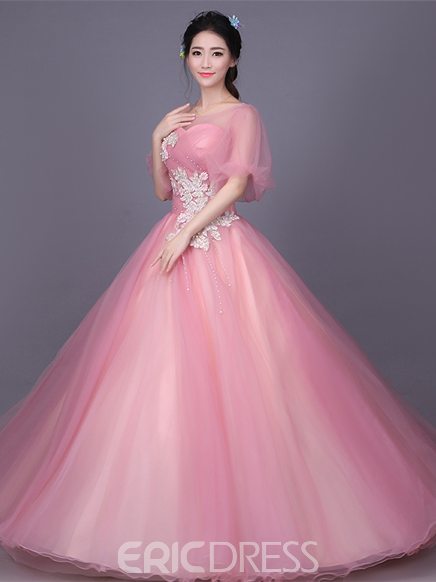 Ericdress Appliques Embroidery Flowers Pearls Ball Quinceanera Dress
