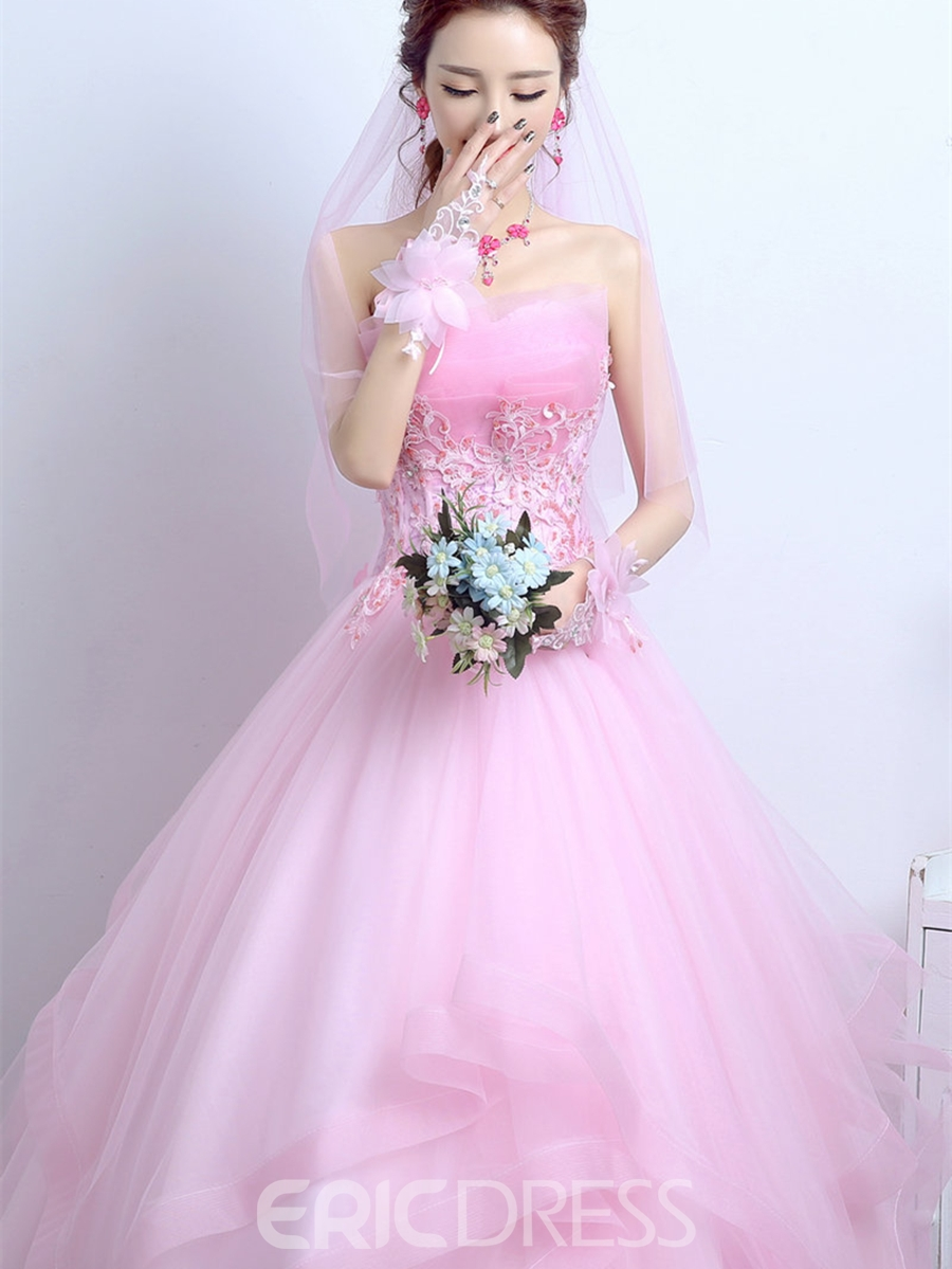 Ericdress Appliques Flowers Scalloped-Edge Quinceanera Dress