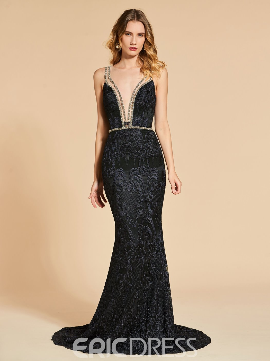 Ericdress Scoop Neck Lace Mermaid Evening Dress With Beaded Crystal